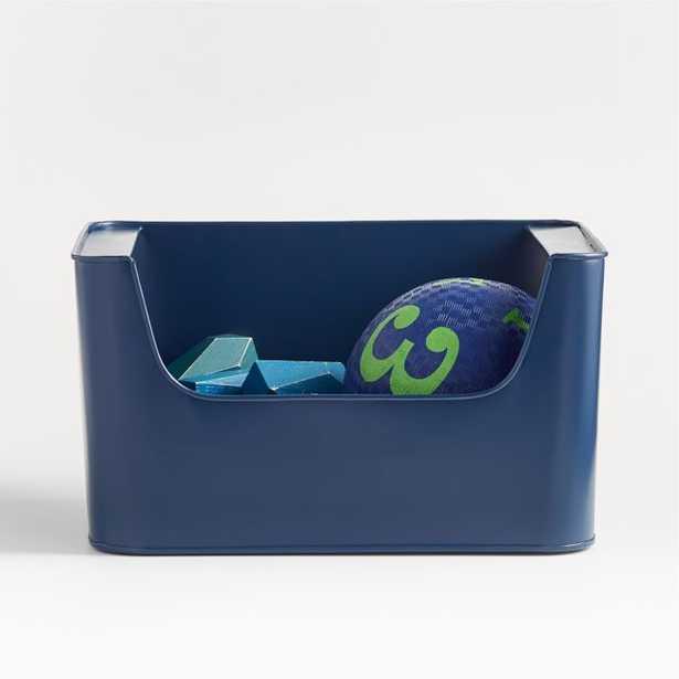 Small Dark Blue Metal Stacking Storage Bin - Crate and Barrel