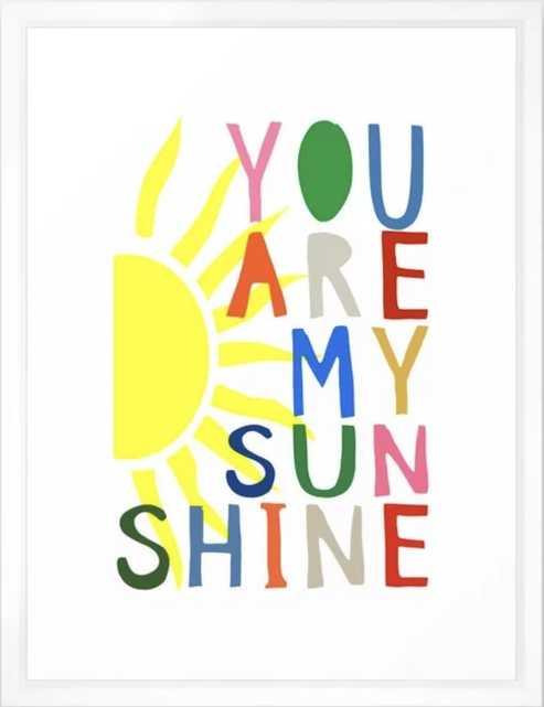 You Are My Sunshine Framed Art Print, Vector White, 20 X 26 - Society6