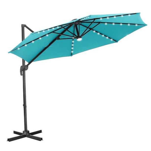 """Waville 10"""" Octagonal Lighted Cantilever Umbrella - Blue - Wayfair"""