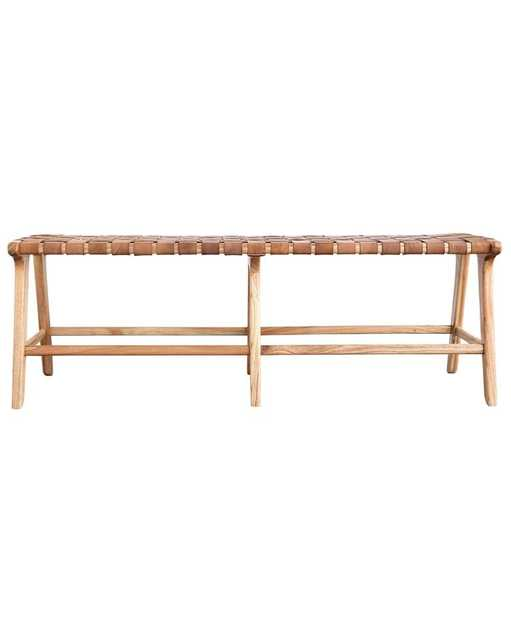 Alfie Woven Leather Bench - McGee & Co.