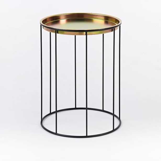 Eric Trine Column Side Table + Tray, Black and Gold - West Elm