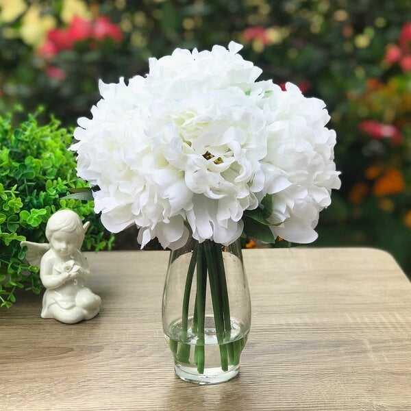 Silk Peonies Floral Arrangement in Vase - Wayfair