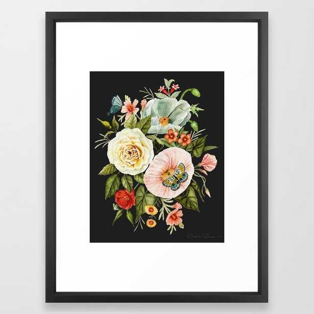 Wildflower and Butterflies Bouquet on Charcoal Black Framed Art Print - Society6