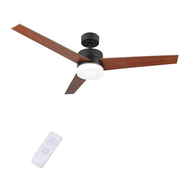 Merra 52 in. LED Indoor Old Bronze Ceiling Fan with Light Kit and Remote Control - Home Depot