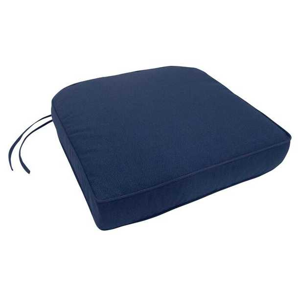 Double-Piped Indoor/Outdoor Sunbrella Contour Chair Cushion with Ties and Zipper - Wayfair
