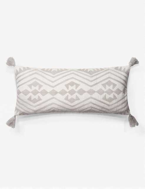 """MARIN LUMBAR PILLOW, WHITE AND GRAY -- Down Feather Filled 27""""x12"""" - Lulu and Georgia"""