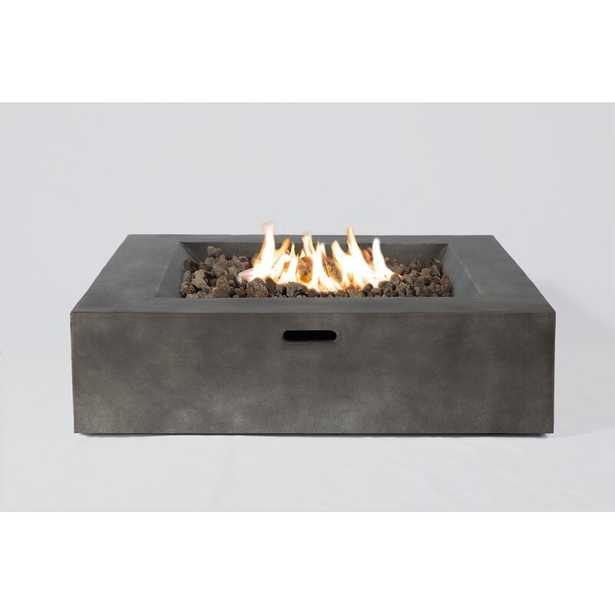 "Aly Fiber Reinforced Concrete Propane/Natural Gas Fire pit table, Charcoal, 12""H x 36""W x 36""D - AllModern"