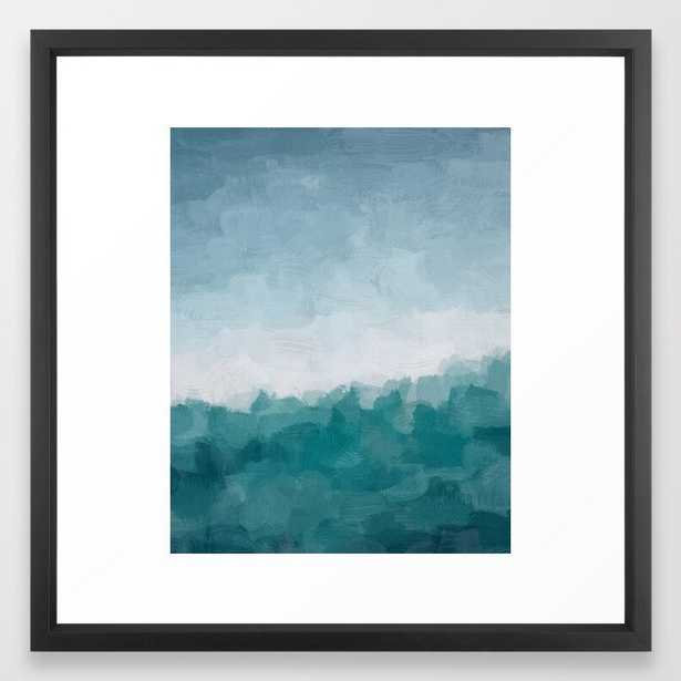 Aqua Teal Turquoise Denim Blue Waves Surfer Abstract Nature Ocean Painting Art Print Wall Decor Framed Art Print - Society6