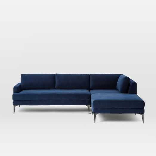 Andes 3-Piece Chaise Sectional, Performance Velvet, Ink Blue Size: X-Large, Right Arm Corner - West Elm