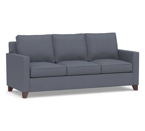 "Cameron Square Arm Upholstered Sofa 86"", Sunbrella® Performance Boss Herringbone, Indigo - Pottery Barn"