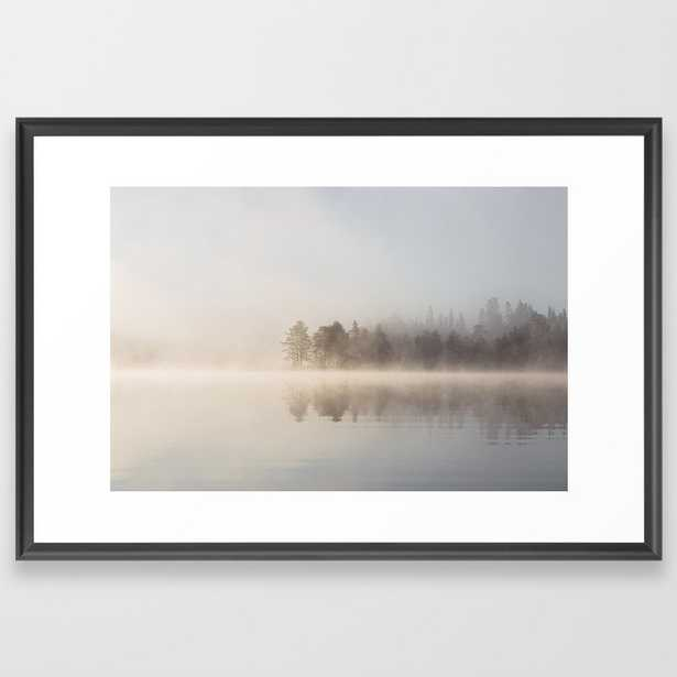 Misty Morning By The Lake Framed Art Print - Society6