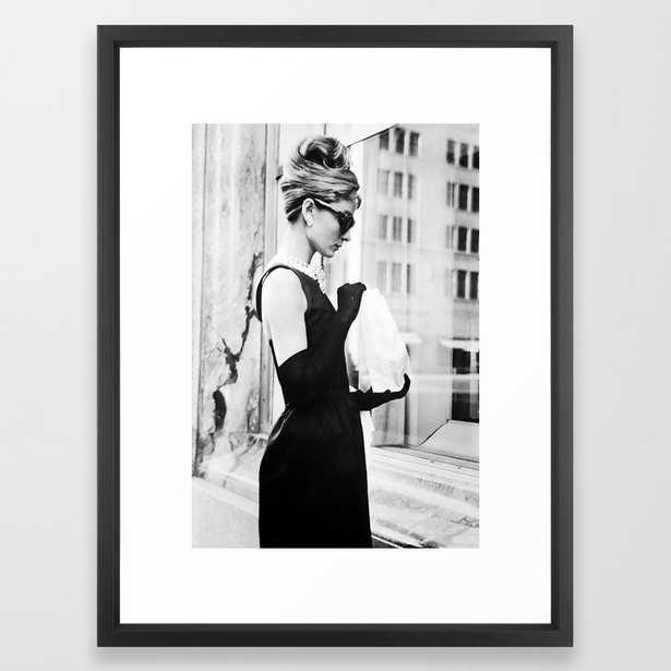 Audrey Hepburn Vintage Black and White Art Framed Art Print - Society6