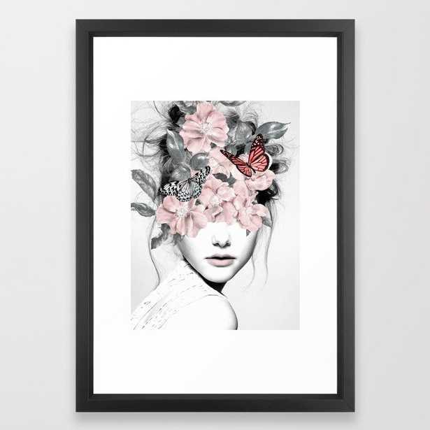 WOMAN WITH FLOWERS 10 Framed Art Print-Vector Black: 15 x 21 - Society6