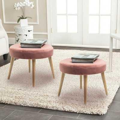 "Pink Maire 19.7"" Tufted Round Standard Ottoman (Set of 2) - Wayfair"