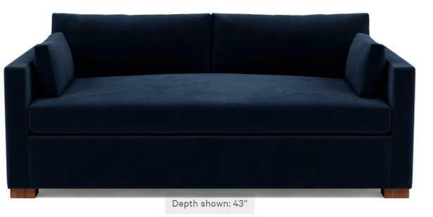 "CHARLY Fabric Sofa, Navy, Oiled Walnut legs, 87""wide, bench cushion, 43""deep - Interior Define"
