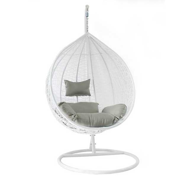 Cortinas Patio Wicker Plastic Tear Drop Swing Chair / White - Wayfair