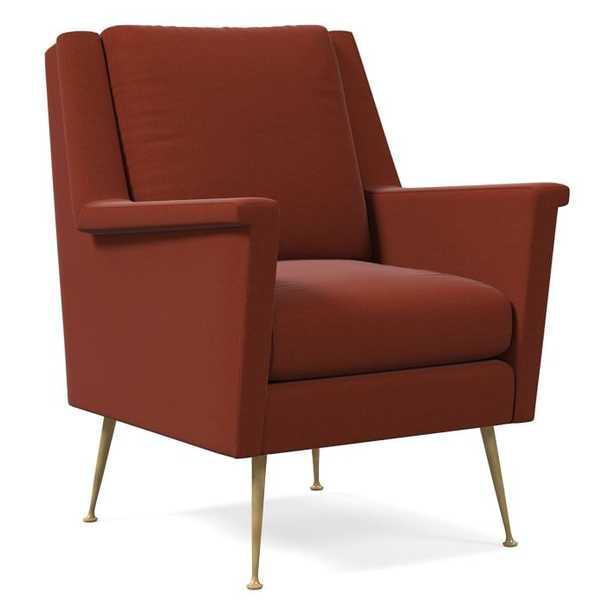 Carlo Mid-Century Chair, Poly, Distressed Velvet, Rust, Brass - West Elm