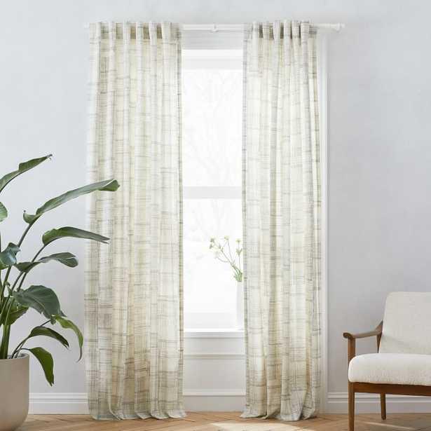 "Mid-Century Cotton Canvas Etched Grid Curtain, Set of 2, Slate, 48""x84"" - West Elm"