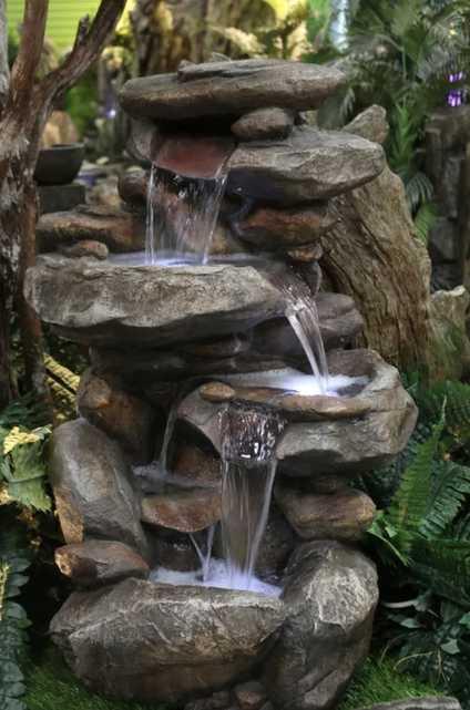 Fiberglass Rock Water Fountain with Light - Wayfair