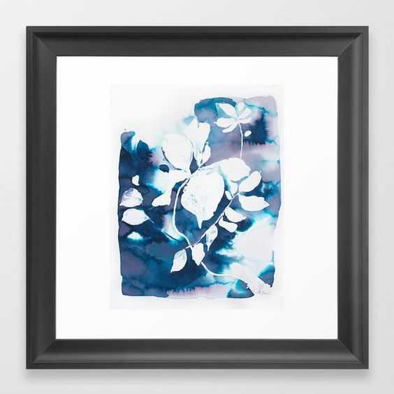 Indigo Blue Botanical Framed Art Print - Scoop Black - 12 x 12 - Society6