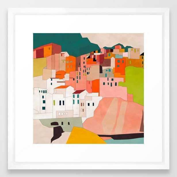 italy coast houses minimal abstract painting Framed Art Print - Society6