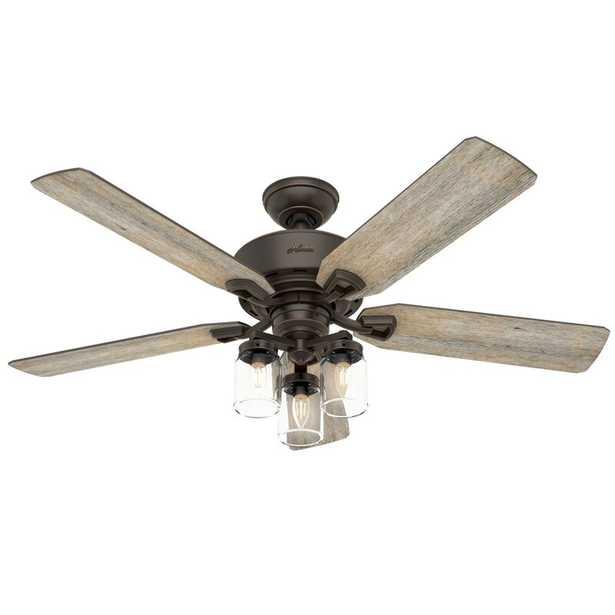 "52"" Devon Park 5 Blade Ceiling Fan with Remote, Light Kit Included - Wayfair"