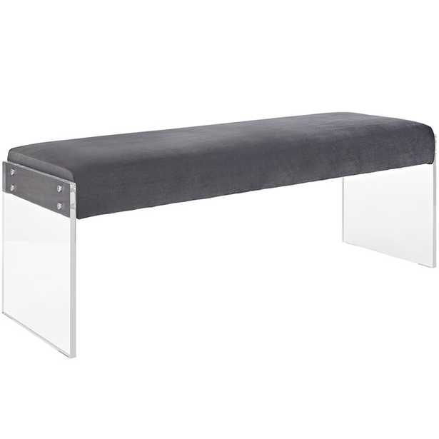 ROAM VELVET BENCH IN GRAY - Modway Furniture