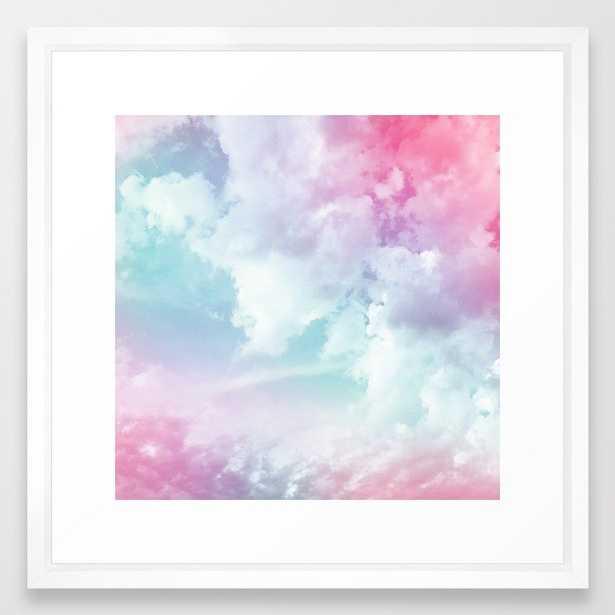 "Cotton Candy Sky Framed Art Print - 22""x22"" White vector frame - Society6"
