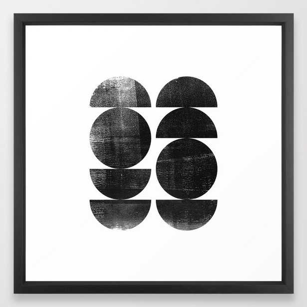 Black and White Mid Century Modern Circles Abstract Framed Art Print - Society6