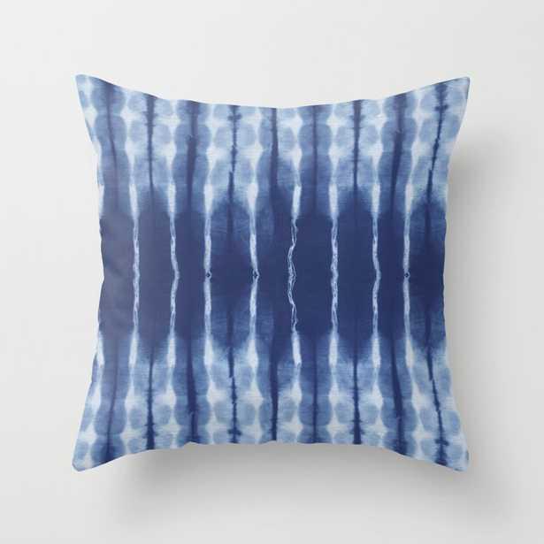 Blue shibori scratched Throw Pillow - Society6