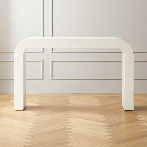 Horseshoe White Lacquered Linen Console Table - CB2