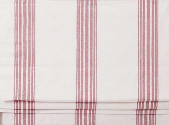"Riviera Stripe Cordless Shade,, 32x64"", Red - Pottery Barn"