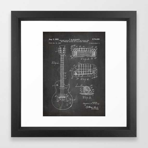 Gibson Guitar Patent - Les Paul Guitar Art - Black Chalkboard Framed Art Print, - Society6