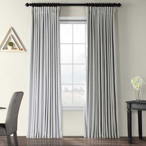 Albert Velvet Solid Blackout Thermal Rod Pocket Single Curtain Panel- Reflection Gray - Wayfair