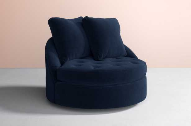Barwick Swivel Chair Velvet in Light Blue - Anthropologie