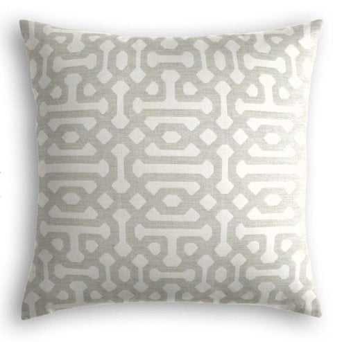 Outdoor Pillow  Sunbrella® Fretwork - Pewter - 18x18 - no trim - polyester insert - Loom Decor