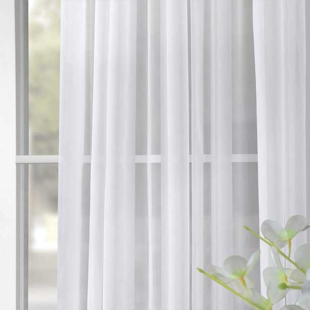 Exclusive Fabrics & Furnishings Doublewide Solid White Voile Poly Sheer Curtain - 100 in. W x 96 in. L - Home Depot