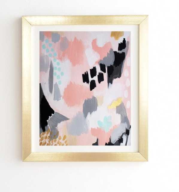 "SERENITY ABSTRACT - Gold Framed Wall Art - 19""x22"" - Wander Print Co."