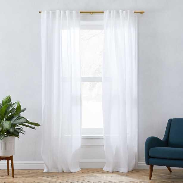 "Sheer Belgian Flax Linen Curtain, White, 48""x84"" -Individual - West Elm"