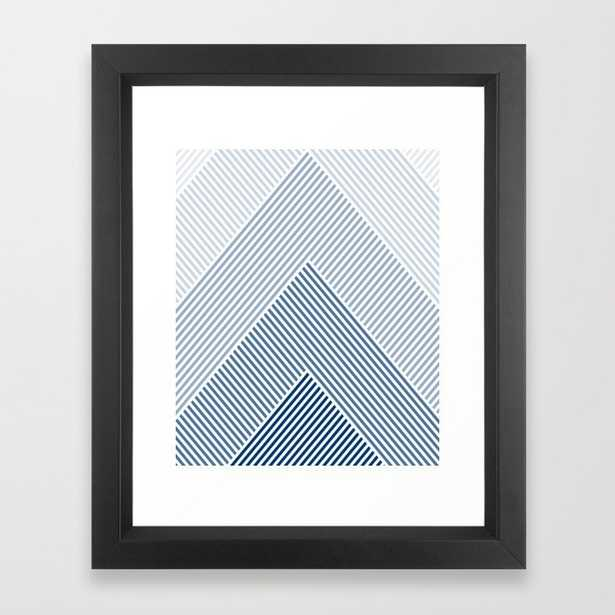 Shades of Blue Abstract geometric pattern Framed Art Print - Society6