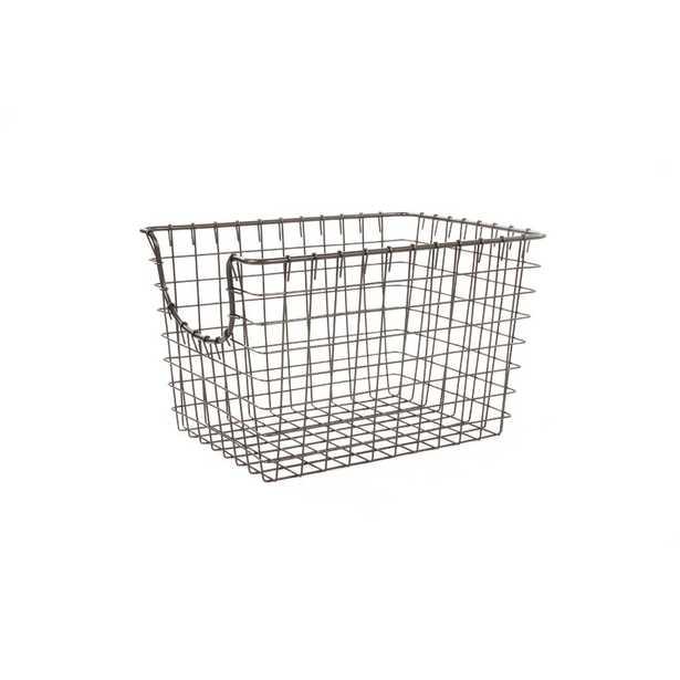"Scoop Metal/Wire Basket - Industrial Gray- 8"" H x 9.5"" W x 12.75"" D - AllModern"