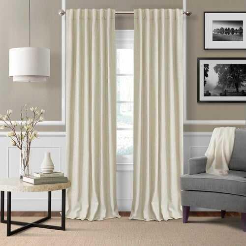 "Aston Solid Room Darkening Thermal Rod Pocket Curtains Ivory 52"" W x 95"" L - Wayfair"