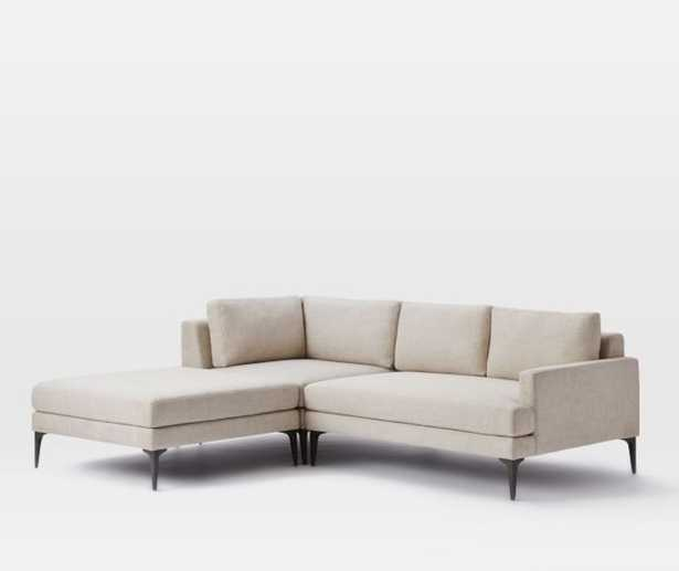 Andes 3-Piece Chaise Sectional, Left, Twill Stone - West Elm
