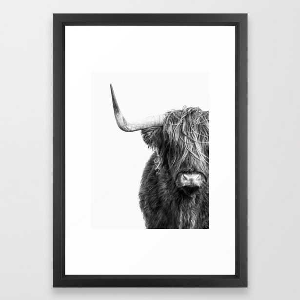 """Highland Cow Portrait - Black and White Framed Art Print  Small 15""""x21"""" - Society6"""