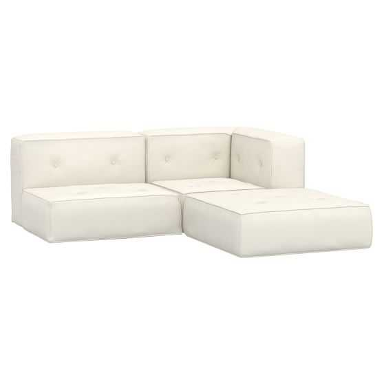 Cushy Piped Trim Sectional Set, Recycled Blend Chenille Washed Ivory, QS In-home - Pottery Barn Teen
