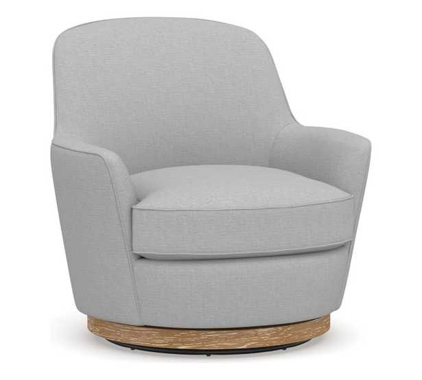 Larkin Upholstered Swivel Armchair, Polyester Wrapped Cushions, Brushed Crossweave Light Gray - Pottery Barn