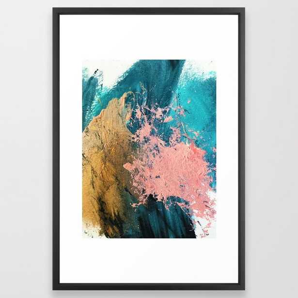 Coral Reef [1]: colorful abstract in blue, teal, gold, and pink Framed Art Print - Society6