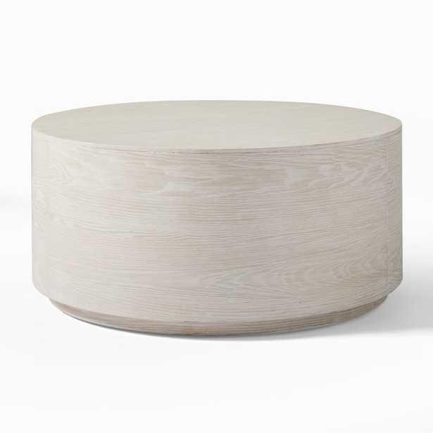 Volume Round Drum Coffee Table - winter  wood - West Elm