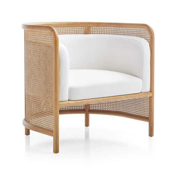 Fields Cane Back White Accent Chair - Crate and Barrel
