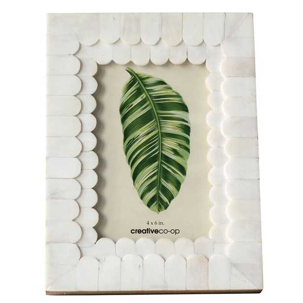 Ishee Scalloped Bone and Wood Picture Frame - Wayfair